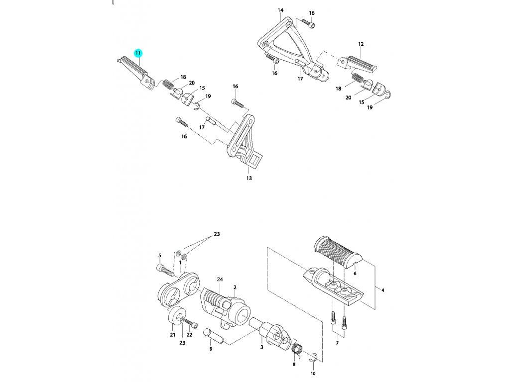 [11] Stupačka zadní pravá (řadící páka & stupačky