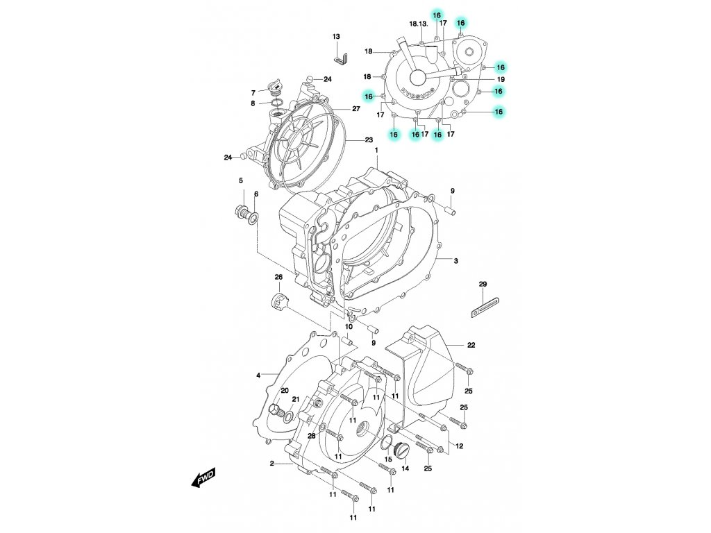 [16] Šroub (motor - kryty skříně) - Hyosung GT 650 N