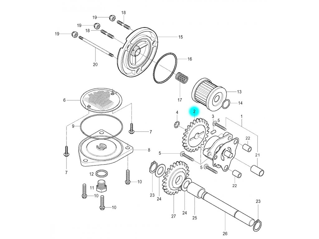 [2] Ozubené kolo (olejové čerpadlo a filtr) - Hyosung GV 250
