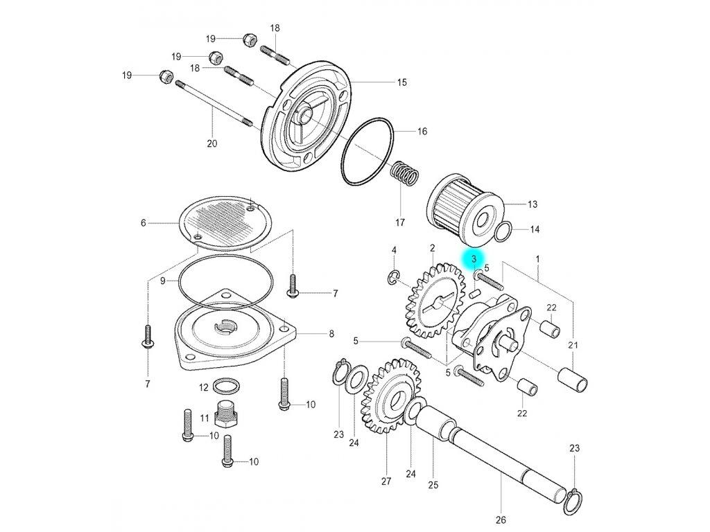 [3] Kolík (olejové čerpadlo a filtr) - Hyosung GV 250