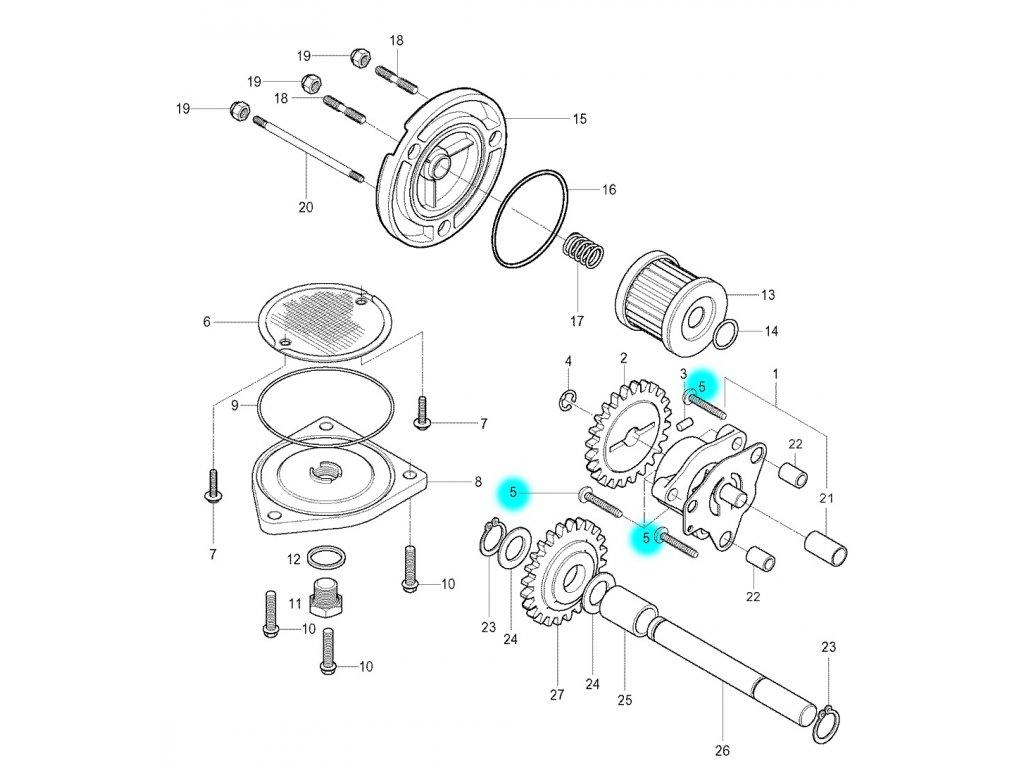 [5] Šroub (olejové čerpadlo a filtr) - Hyosung GV 250