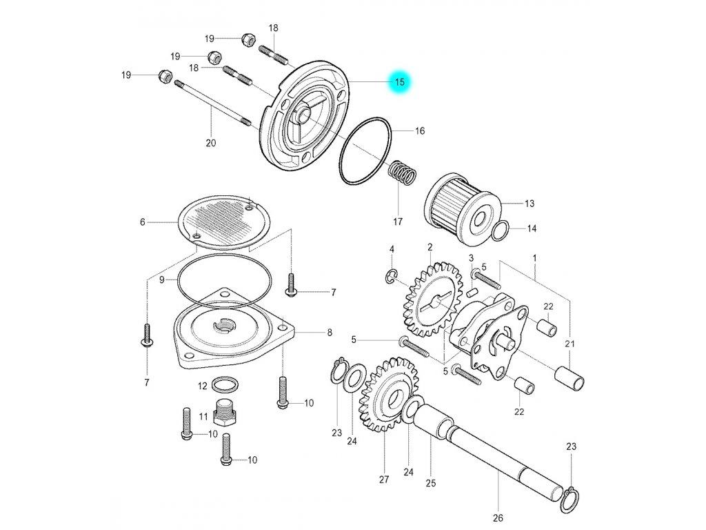[15] Víčko olejového filtru (olejové čerpadlo a filtr) - Hyosung GV 250