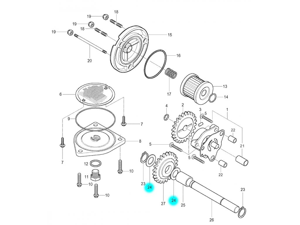 [24] Podložka (olejové čerpadlo a filtr) - Hyosung GV 250