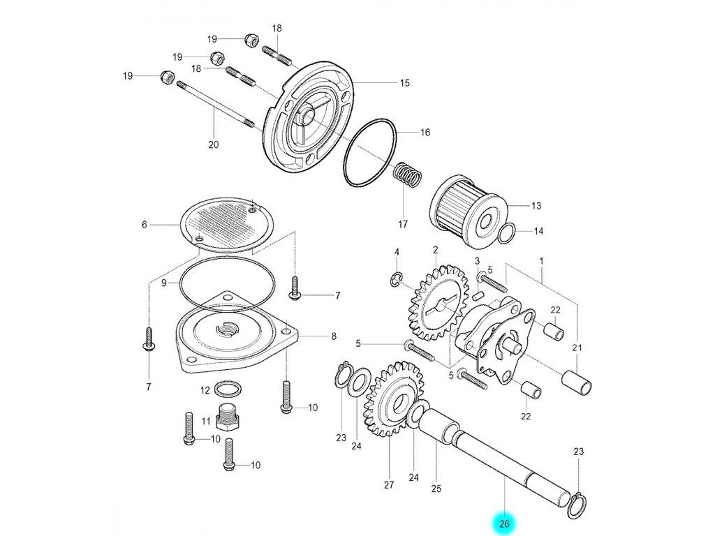 [26] Hřídel (olejové čerpadlo a filtr) - Hyosung GV 250