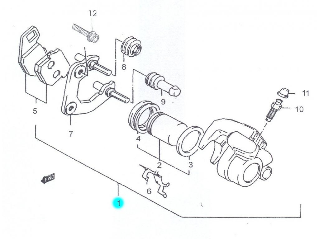 [1] Brzdový třmen přední kompletní - Hyosung SB 50 (RUSCH) 1995 - 1996
