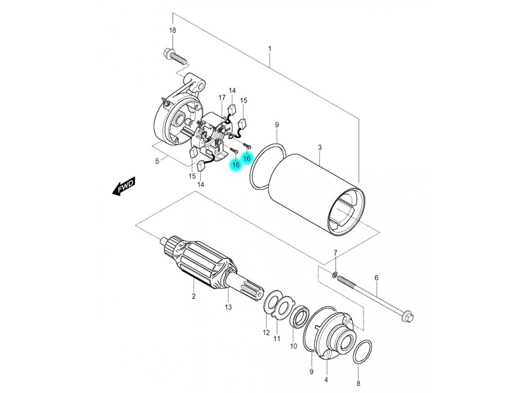 [16] Šroub (startér) - Hyosung GV 250
