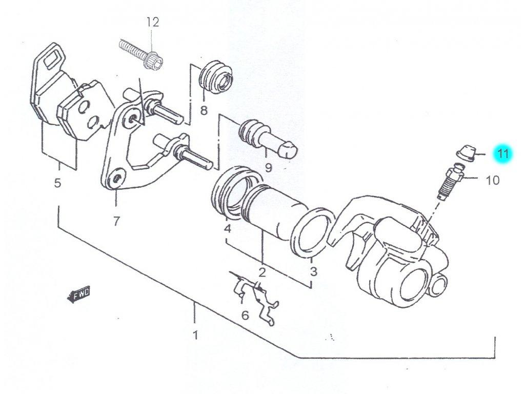 [11] Čepička (brzdový třmen přední) - Hyosung SB 50 (RUSCH) 1995 - 1996