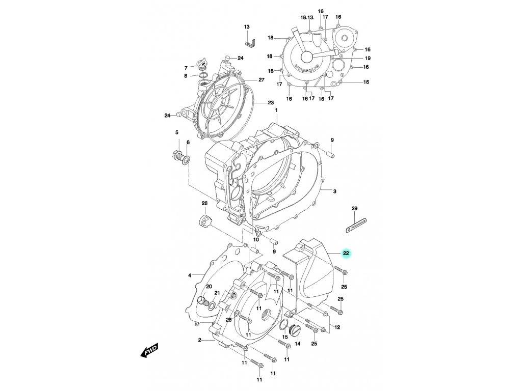 [22] Kryt ozubeného kola (motor - kryty skříně) - Hyosung GT 650 N