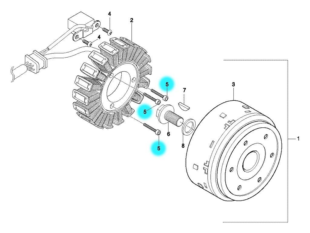 [5] Šroub (alternátor) - Hyosung GT 650 S & R