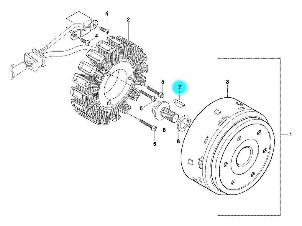 [7] Klínek (alternátor) - Hyosung GT 650 S & R
