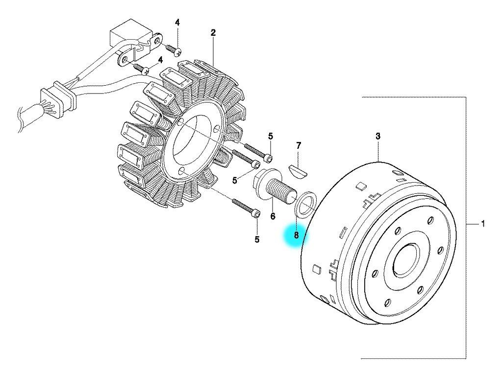 [8] Podložka (alternátor) - Hyosung GT 650 S & R
