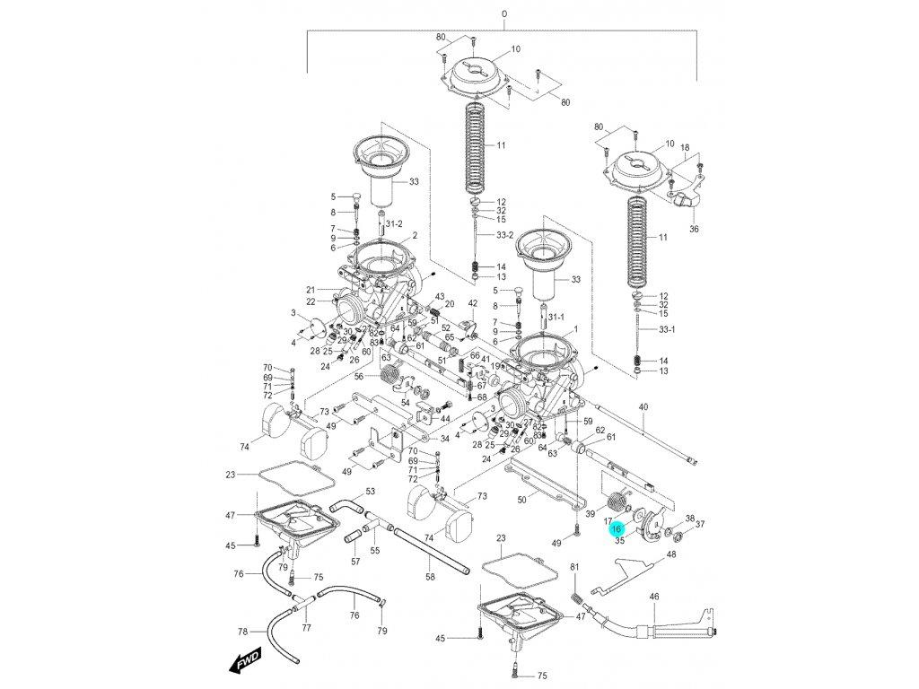 [16] Sedlo pružiny (karburátor) - Hyosung GV 250