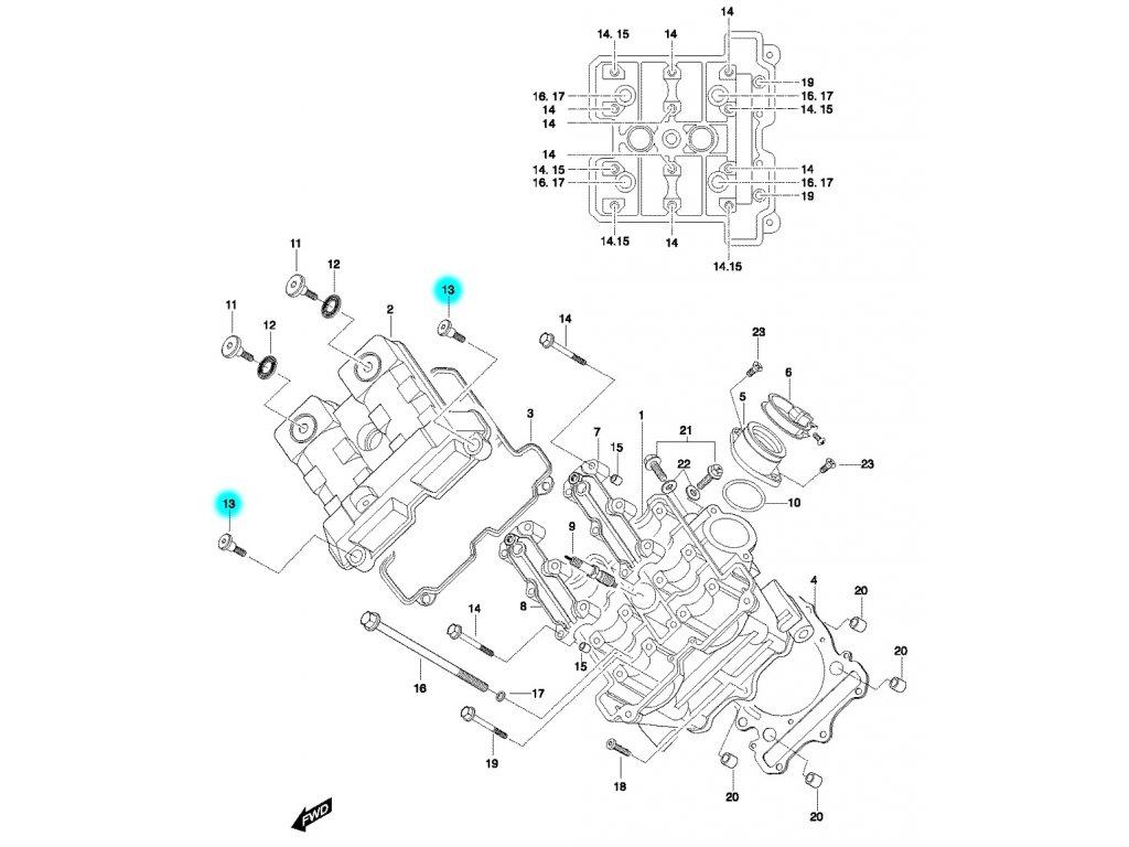 [13] Šroub (hlava předního válce) - Hyosung GT 650 N