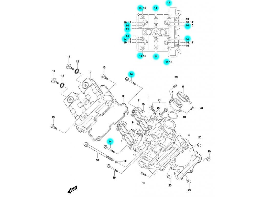 [14] Šroub (hlava předního válce) - Hyosung GT 650 N