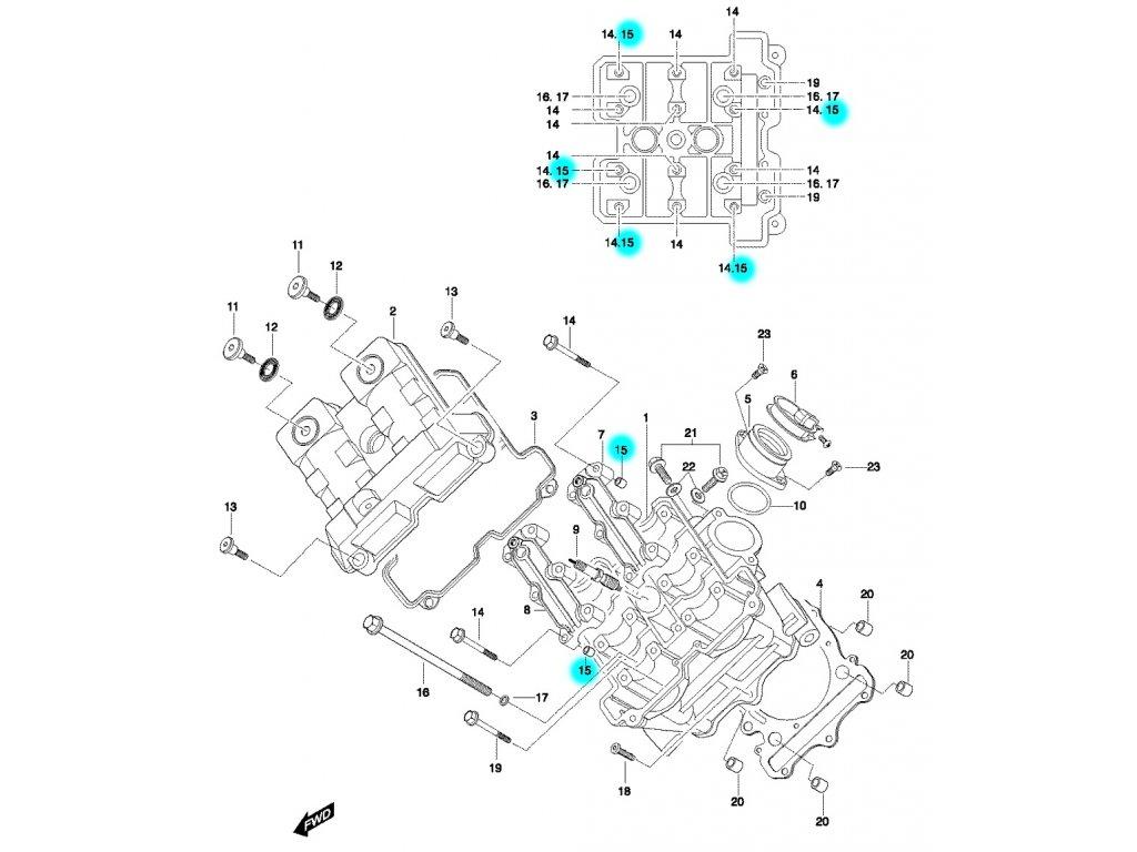 [15] Pouzdro (hlava předního válce) - Hyosung GT 650 N