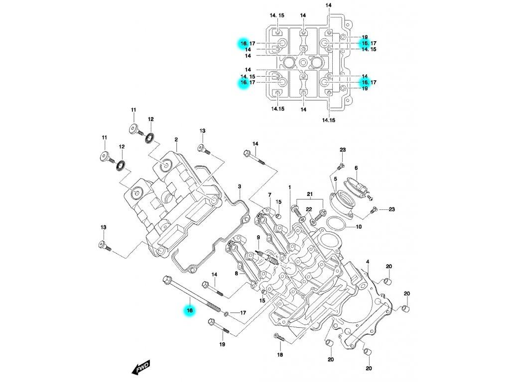 [16] Šroub (hlava předního válce) - Hyosung GT 650 N