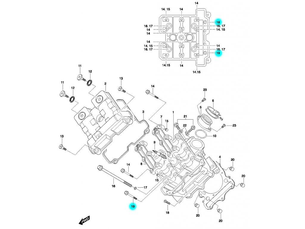 [19] Šroub (hlava předního válce) - Hyosung GT 650 N