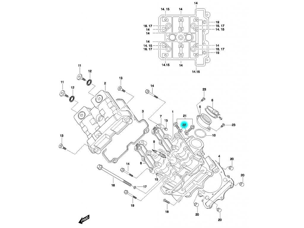 [22] Podložka těsnící (hlava předního válce) - Hyosung GT 650 N