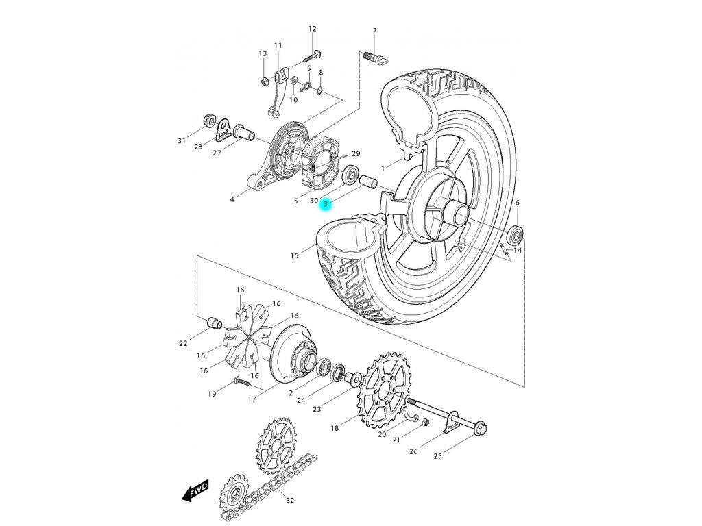 [3] Vymezovací kroužek (zadní kolo) - Hyosung GV 250