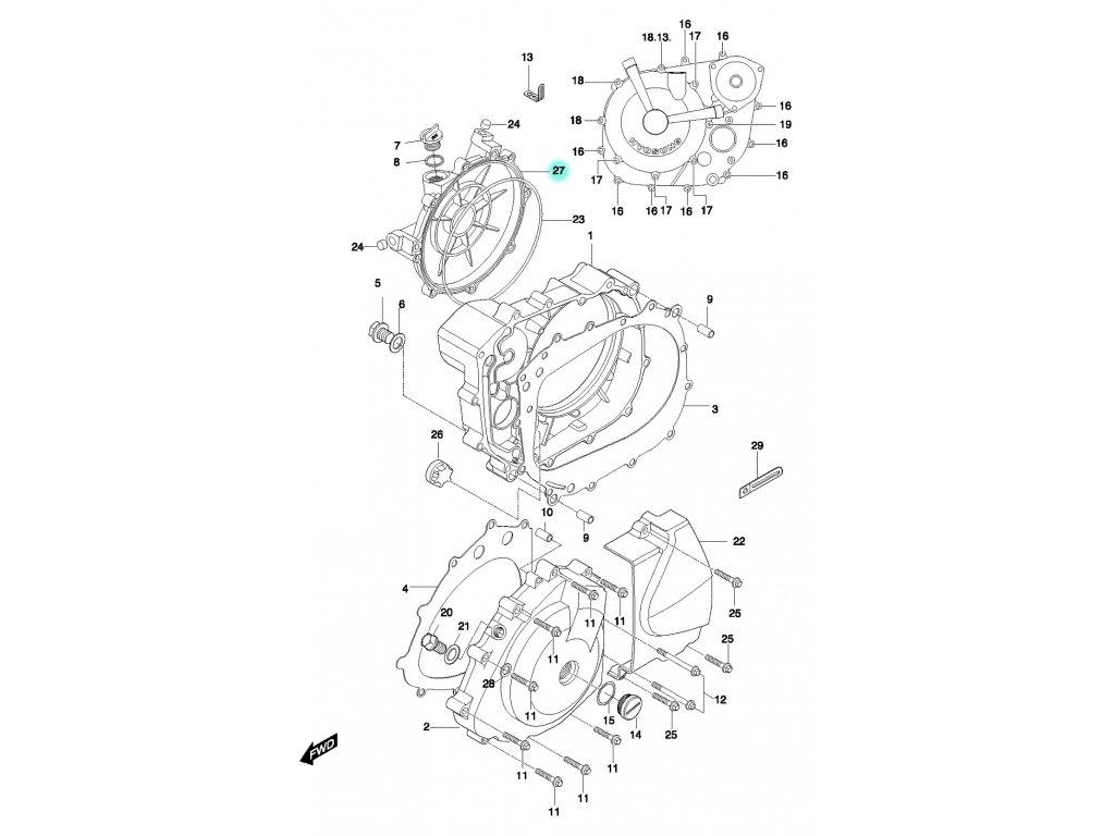 [27] Kryt spojkový (motor - kryty skříně) - Hyosung GT 650 N