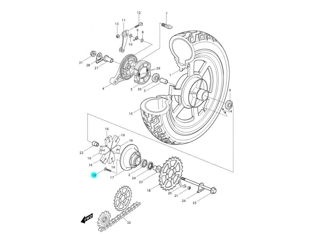 [19] Šroub M10x381 (zadní kolo) - Hyosung GV 250