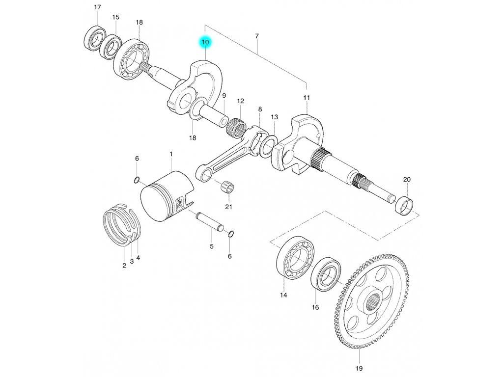 [10] Kliková hřídel pravá (FIG04) - Hyosung SB 50 M (CAB)