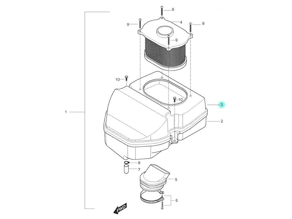 [3] Vrchní kryt (vzduchový filtr) - Hyosung GT 250 N