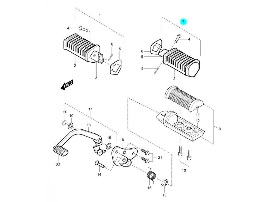 [7] Stupačka zadní levá kompletní (stupačky & řadící páka) - Hyosung GV 250