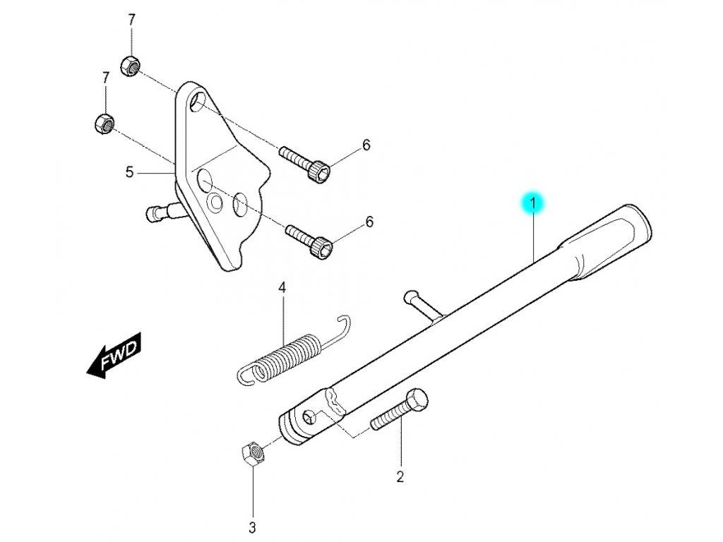 [1] Stojan boční opěrný (boční stojan) - Hyosung RX 125