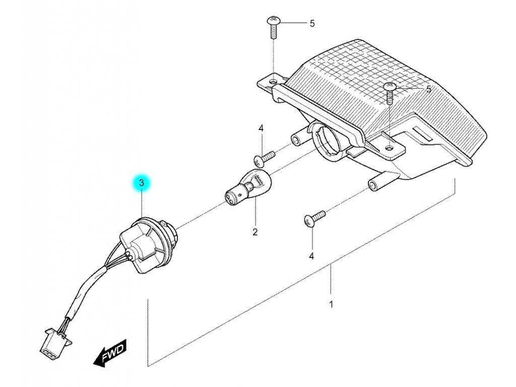 [3] Objímka žárovky (zadní osvětlení) - Hyosung RX 125