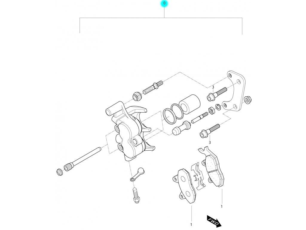 [0] Brzdový třmen zadní kompletní (zadní brzdič) - Hyosung MS3 250i