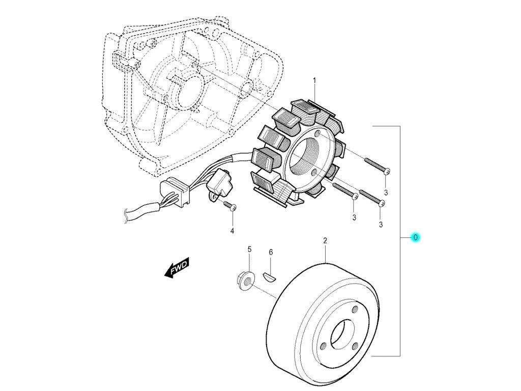 [0] Alternátor kompletní (FIG19) - Hyosung RX 125