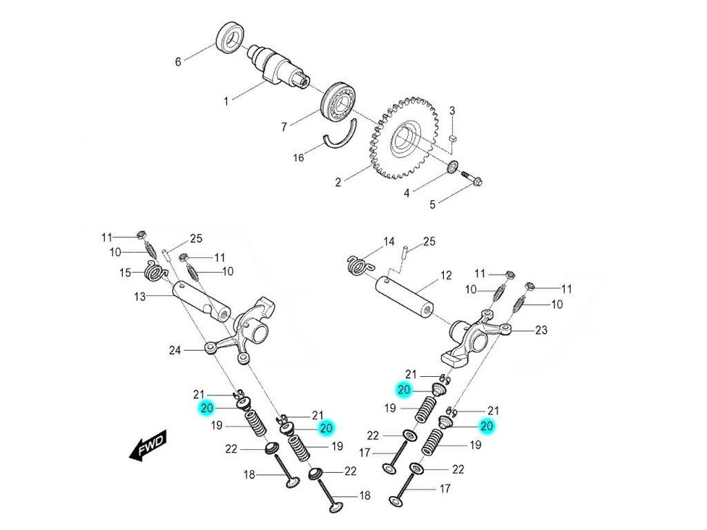 [20] Sedlo pružiny ventilu (FIG08) - Hyosung RX 125