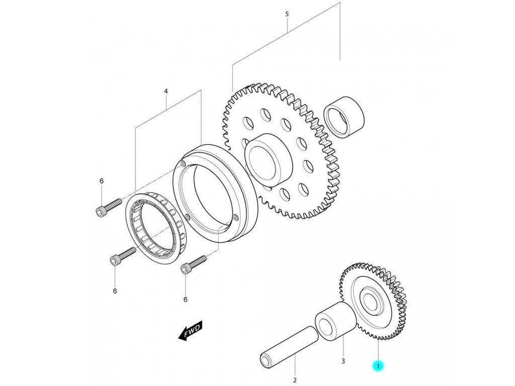 [1] Ozubené kolo pohonu / pastorek (volnoběžka startéru) - Hyosung MS3 250i