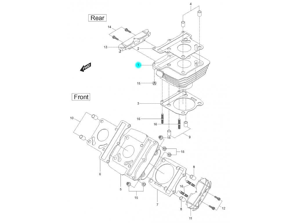 [1] Válec zadní / 21 mm napínák / EURO 2 (FIG02) - Hyosung GT 125 N