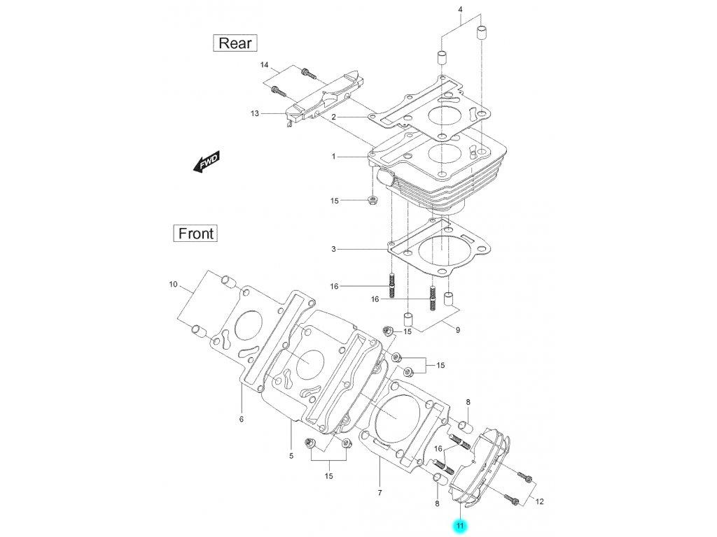 [11] Boční kryt předního válce (FIG02) - Hyosung GT 125 N