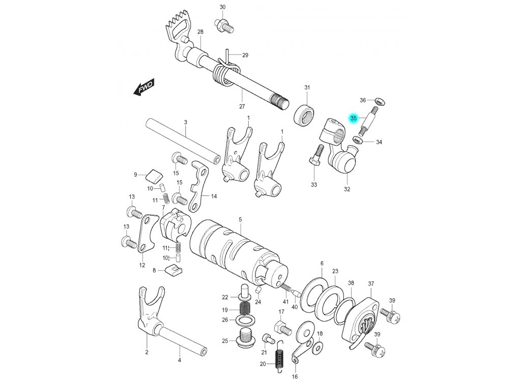 [35] Tyč řazení 126 mm (FIG16) - Hyosung GT 125 N