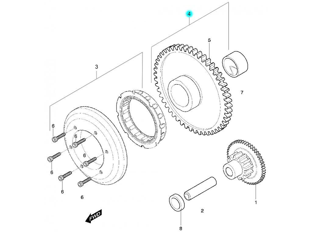 [4] Ozubené kolo kompletní (FIG08) - Hyosung 450 Sport