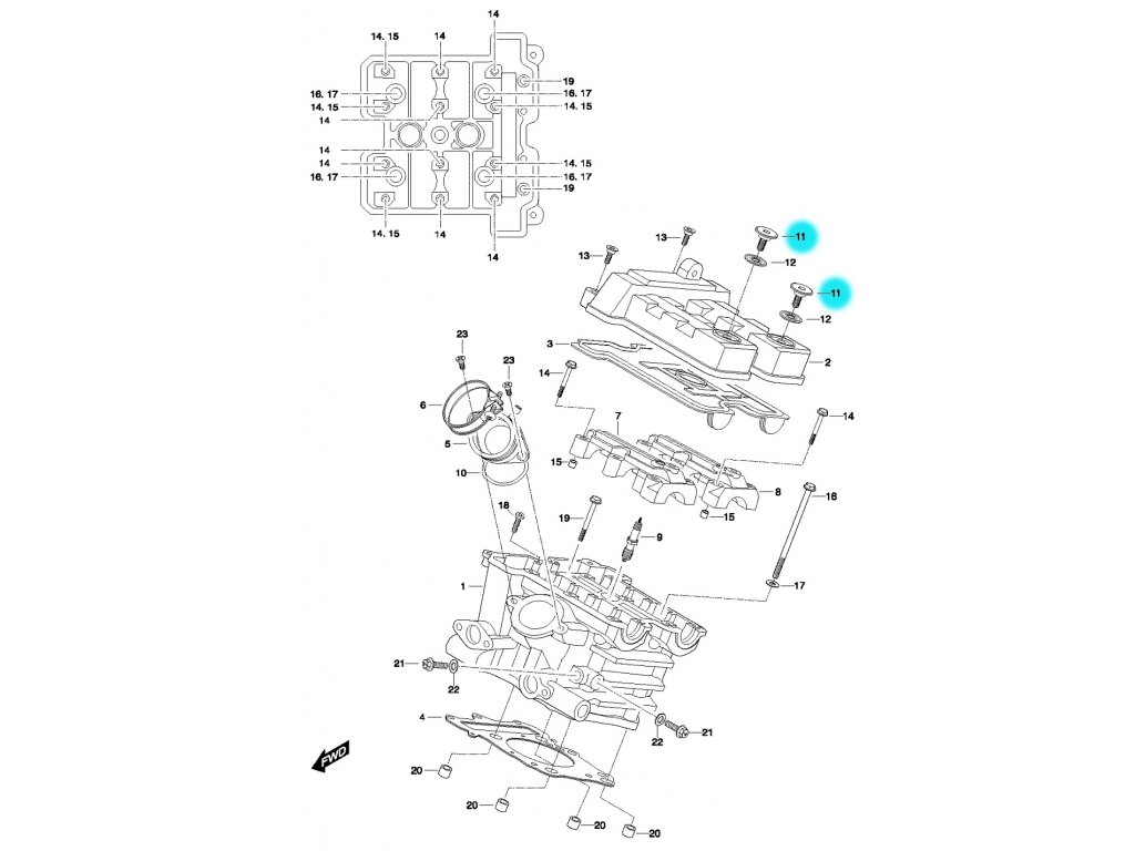 [11] Šroub (hlava zadního válce) - Hyosung GT 650 N