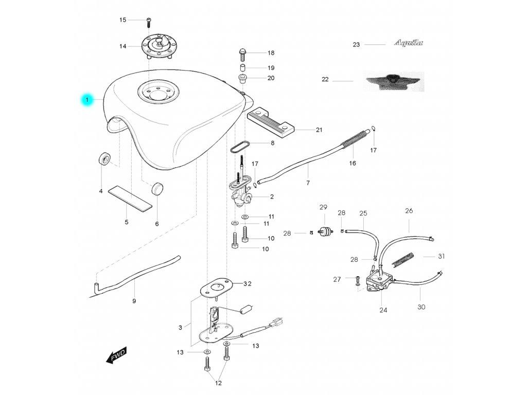 [1] Nádrž / stříbrná-černá (palivová nádrž) - Hyosung GV 125