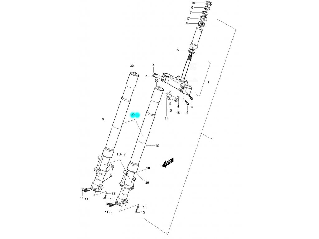 [10-1] Pouzdro tlumiče (FIG40) - Hyosung GT 650 S & R
