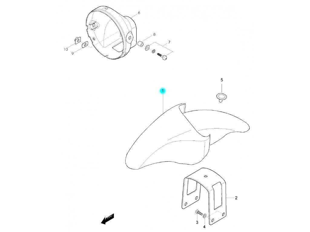 [1] Blatník přední / modrý (FIG36) - Hyosung GF 125