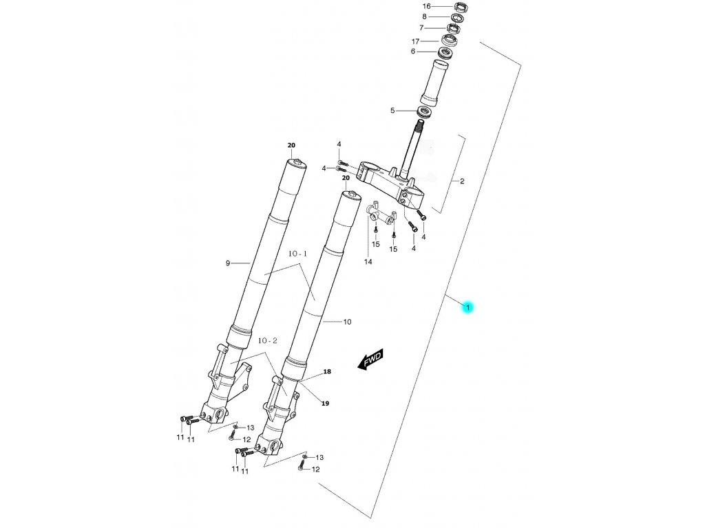 [1] Vidlice přední kompletní (vidlice přední) - Hyosung GT 650 S & R