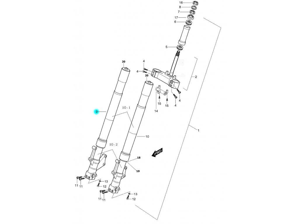 [9] Vidlice přední pravá kompletní (FIG40) - Hyosung GT 650 S & R