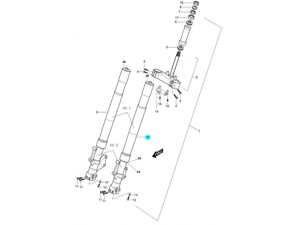 [10] Vidlice přední levá kompletní (FIG40) - Hyosung GT 650 S & R