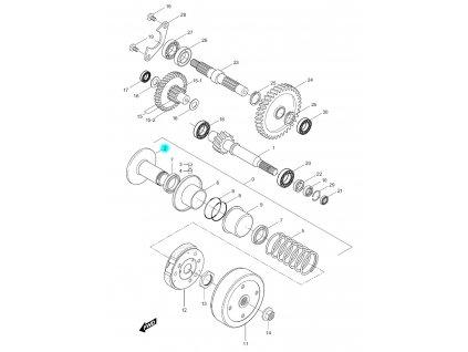 [2] Řemenice zadní pevná (převodovka a odstředivá spojka) - Hyosung SF 50 (PRIMA)