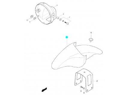 [1] Blatník přední / červená perleť (FIG36) - Hyosung GF 125