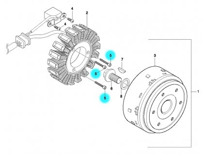 [5] Šroub (alternátor) - Hyosung GT 650 N