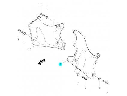 [1] Kryt levý / stříbrná perleť (FIG48) - Hyosung GV 250