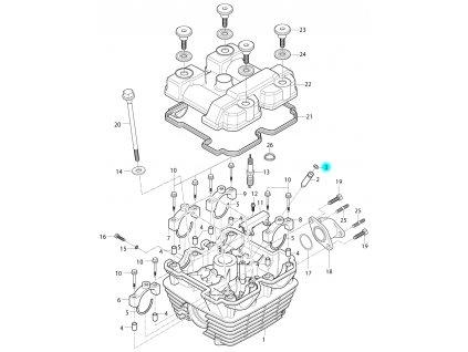 [3] Kroužek jistící (hlava válce a kryt ventilů) - Hyosung RT 125 D E3